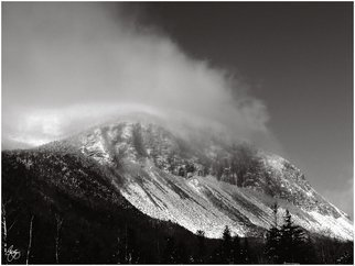 Wayne King; Cannon Cliffs In The Clouds, 2008, Original Photography Black and White, 22.5 x 30 inches. Artwork description: 241  Cannon Mountain and the world famous Cannon cliffs one of the most challenging climbs in the northeastern US. Rock climbers from all over the world come to Cannon to climb this face: cannon, canon, cliff, cliffs, Mountain, franconia range, white mountains, NH. New Hampshire, appalachian mountains, north ...