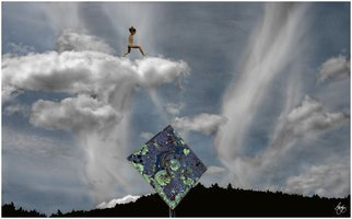 Wayne King; Choose Your Own Path Aim High, 2012, Original Photography Color, 18.6 x 30 inches. Artwork description: 241  Subtitle: The Cloud Jumper The third in a series of images entitled Finding Your Own Path. This image depicts a nude male leaping between clouds over a lichen encrusted sign....