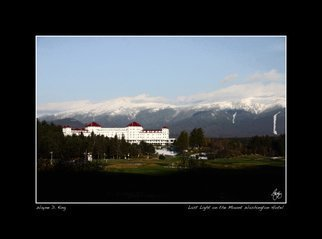 Wayne King; Light Fades On Mount Wash..., 2008, Original Photography Color, 32.5 x 24 inches. Artwork description: 241  Daylight fades on Mount Washington and the famed Mount Washington Hotel at Bretton Woods where the IMF was established. The Mount Washington is one of the last remaining Grand Hotels of the White Mountains which at one time boasted many more. ...