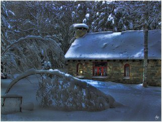 Wayne King; Moonlight On The Stone House, 2008, Original Photography Color, 24.5 x 18 inches. Artwork description: 241  A stonehouse in Groton, New Hampshire at Moonrise. A light burns in the window and the moonlight casts shadows and light on the new fallen snow. This image was a winner in the 2014 Annual Light and Space Competition. This image is part of an Open Edition. ...