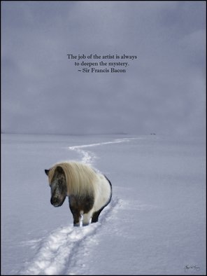 Wayne King; The Ponys Trail Francis B..., 2014, Original Photography Color, 16 x 20 inches. Artwork description: 241  A pony on a long trail into the mist. Quote from Sir Francis Bacon: The job of the artist is always to deepen the mystery.This is a limited edition art poster. Only 100 signed prints will be made.The original has been archived and kept only ...