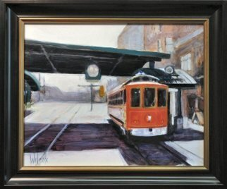 Wayne Wilcox; Main Street Trolley, 2010, Original Painting Oil, 20 x 16 inches. Artwork description: 241    Memphis Trolley   ...