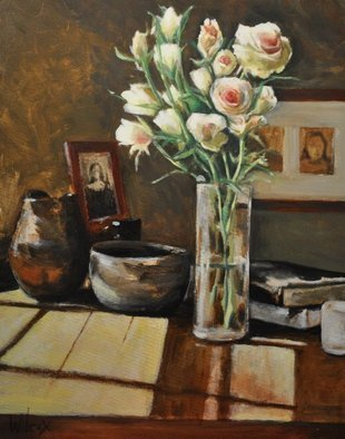 Wayne Wilcox; Still Life With Roses, 2009, Original Painting Oil, 24 x 30 inches.