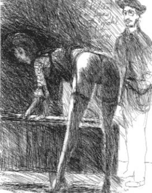 Harry Weisburd Artwork Degas Sketching Bending Model Original Drawing Pen Erotic Art