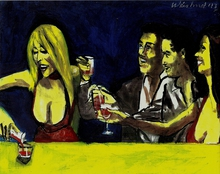Artist: Harry Weisburd's, title: Happy Hour With Friends, 2015, Watercolor