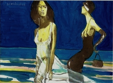 Artist: Harry Weisburd's, title: Two Women On The Beach, 2014, Watercolor