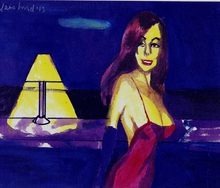 Artist: Harry Weisburd's, title: Woman In Red Dress , 2014, Watercolor