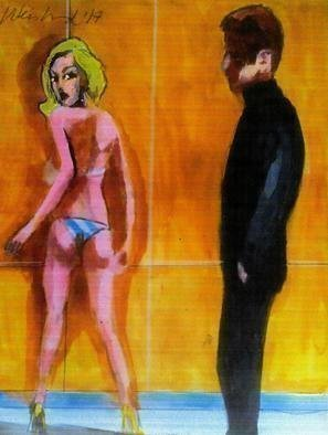 Harry Weisburd, artists and blonde model, 2017, Original Watercolor,    inches