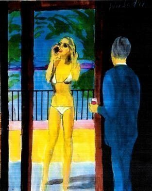 Harry Weisburd, bikini babe with cell phone, 2017, Original Watercolor,    inches