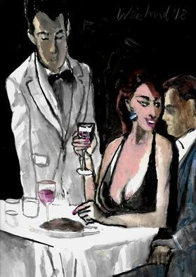 Harry Weisburd; dinner for two, 2018, Original Watercolor, 11 x 14 inches. Artwork description: 241 Sensual woman in deep V neck dress with man at dinner...