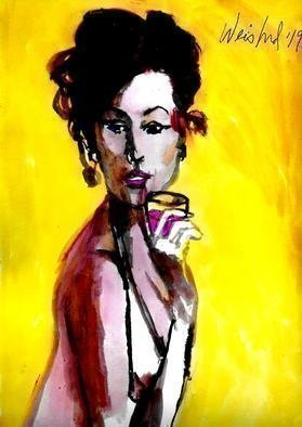 Harry Weisburd, 'Glass Of Burgundy', 2019, original Watercolor, 9 x 12  inches. Artwork description: 1911 Woman With Glass of Burgundy Wine ...