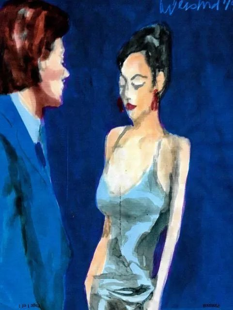 Harry Weisburd, 'Happy Hour Woman In Blue Dress', 2019, original Watercolor, 11 x 14  inches. Artwork description: 1911 I paint the relationships between Men and Women ...
