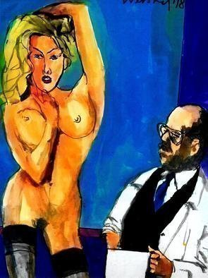 Harry Weisburd; Matisse And Model, 2018, Original Watercolor, 11 x 14 inches. Artwork description: 241 French Artist Henri Matisse sketching nude model...
