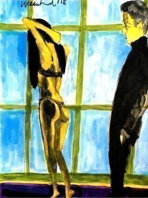 Harry Weisburd, 'Nude By Window', 2019, original Watercolor, 11 x 14  inches. Artwork description: 1911 Semi Nude woman standing by window man watching ...