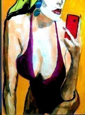 Harry Weisburd; Red Cell Phone, 2019, Original Watercolor, 11 x 14 inches. Artwork description: 241 Busty Sensual . , Erotic  woman on Red Cell PHone...
