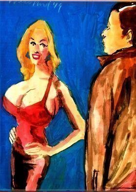 Harry Weisburd; Red Dress Babe, 2019, Original Watercolor, 11 x 14 inches. Artwork description: 241 BigBusty Woman Happy Hour Love and Romance...