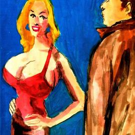Harry Weisburd, , , Original Watercolor, size_width{red_dress_babe-1553894585.jpg} X 14 inches