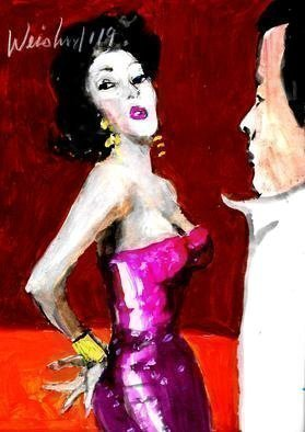 Harry Weisburd; Red Glittering Dress, 2019, Original Watercolor, 11 x 14 inches. Artwork description: 241 Sensual Erotic woman in Red Dress  at Happy Hour...