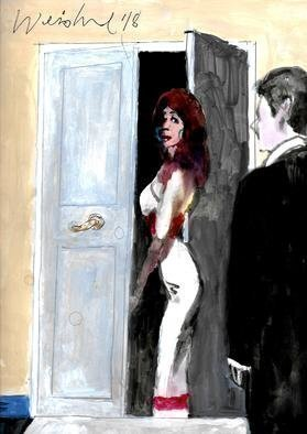 Harry Weisburd; red stripe gown, 2018, Original Watercolor, 11 x 14 inches. Artwork description: 241 Sensual woman in red striped gown flirting with man ...