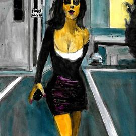Harry Weisburd, , , Original Watercolor, size_width{woman_with_iphone_1-1512781108.jpg} X 14 inches