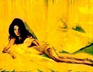 Harry Weisburd, yellow nude, 2012, Original Watercolor,    inches