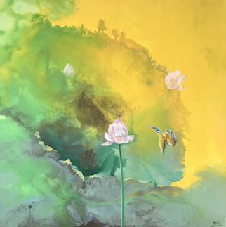 Weixue Luo; Lotus 03, 2020, Original Painting Oil, 90 x 90 cm. Artwork description: 241 l was inspired by the clean appearance of lotus and kingfisher lotus.  l expressed the pure land in my heart through abstract expressionism and also hoped to bring comfort to the audience. ...