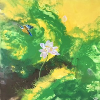Weixue Luo; Lotus 06, 2020, Original Painting Oil, 90 x 90 cm. Artwork description: 241 l was inspired by the clean appearance of lotus and kingfisher lotus. l expressed the pure land in my heart through abstract expressionism and also hoped to bring comfort to the audience. ...