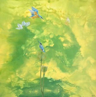 Weixue Luo; Lotus 08, 2020, Original Painting Oil, 90 x 90 cm. Artwork description: 241 l was inspired by the clean appearance of lotus and kingfisher lotus. l expressed the pure land in my heart through abstract expressionism and also hoped to bring comfort to the audience. ...