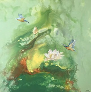 Weixue Luo; Lotus 09, 2020, Original Painting Oil, 90 x 90 cm. Artwork description: 241 l was inspired by the clean appearance of lotus and kingfisher lotus. l expressed the pure land in my heart through abstract expressionism and also hoped to bring comfort to the audience. ...