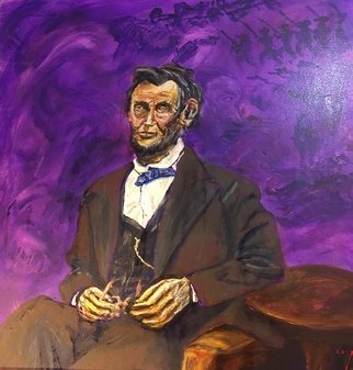 Mark Smith; Lincoln, 2018, Original Painting Acrylic, 24 x 24 inches. Artwork description: 241 President incoln...