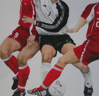 Pim Van Der Wel; Soccermatch, 2006, Original Watercolor, 46 x 56 cm. Artwork description: 241  a soccer moment in a match between Germany and Switzerland. Muscles color and action.  ...
