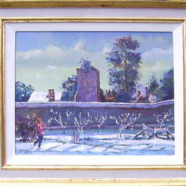 David Welsh, , , Original Painting Oil, size_width{Apple_Trees_in_the_Snow-1399999742.jpg} X 15.5 inches
