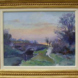 David Welsh, , , Original Painting Oil, size_width{Fishing_on_the_Kennet_and_Avon_Canal-1400000800.jpg} X 12 inches