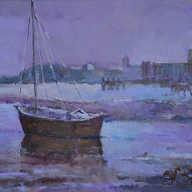 David Welsh, , , Original Painting Oil, size_width{Norfolk_Boat-1400001393.jpg} X 15 inches