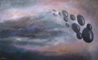 Daniel Wend; The Arrival, 2014, Original Painting Acrylic, 36 x 24 inches. Artwork description: 241  Ambiguous forms traveling through, or into the atmosphere. ...