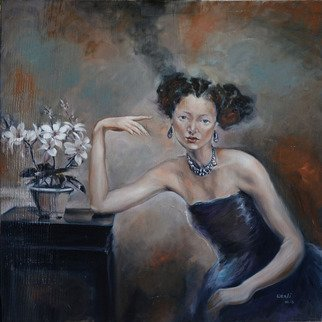 Wenli Liu; Lady In Blue Dress, 2013, Original Painting Oil, 36 x 36 inches.