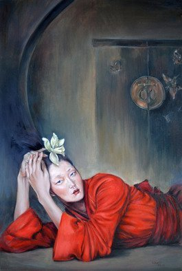 Wenli Liu; Lady In Red, 2013, Original Painting Oil, 24 x 36 inches. Artwork description: 241  Asian lady, Chinese lady, girl, woman, female, Chinese traditional dress, custom, Red, gate, traditional dress, han dress, , flower  ...