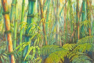 Deborah Wilson; Menehune, 2010, Original Printmaking Giclee, 36 x 24 inches. Artwork description: 241   bamboo, menehune, botanical, hawaiiana, tropical.  Menehune is a scene depicting a forest of bamboo.  However, those who look carefully will be rewarded with a glimpse of the elusive menehune. This gicle' e print is produced on archival canvas and coated with a protective coating.  It is hand- ...