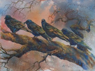 Deborah Wilson; Waiting On The Dawn, 2011, Original Printmaking Giclee, 20 x 15 inches. Artwork description: 241    This is a painting of some ravens that we ran across in Yellowstone National Park.  Although ravens are black, I wanted to bring out the beautiful colors that you see in their feathers as they glisten in the sunlight.  We were amazed at the personality and antics ...