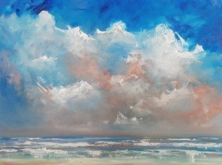 Wim Van De Wege; Banjaard Beach 1, 2017, Original Pastel Oil, 80 x 60 cm. Artwork description: 241 The beautiful clouds sky above the Banjaard Beach in 08 August 2017Oil on canvas 80x60 cm framed in blank floateraEURoeThe beach is not a place to work  to read, write or to think  Anne Morrow Lindbergh Product Information:- Painted on quality canvas 80x60 cm- The ...