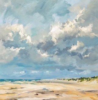 Wim Van De Wege; Domburg Beach 2, 2017, Original Painting Oil, 70 x 70 cm. Artwork description: 241 Beautiful clouds in the sky and a empty beach. . . . wow. . . . freedom Beach Domburg in Zeeland  Netherlands .aEURoeThe beach is not a place to work  to read, write or to think  Anne Morrow Lindbergh Product Information:- Painted on quality canvas 70x70 cm- The artwork has a certificate of ...