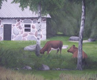 Peter Winberg; Resting Cows, 2003, Original Painting Oil, 46 x 38 cm. Artwork description: 241 Motif from a photograph I took when visting the forest outside Gavadstorp, in Smaland/ Sweden. Oil on canvas board...