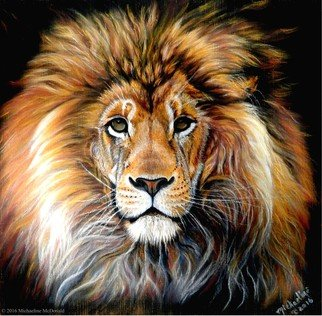 Michaeline Mcdonald; bold lion, 2016, Original Pastel, 12 x 12 inches. Artwork description: 241 Portrait of a lion with a firey mane against a black background. Created with soft pastels on cardstock paper. ...