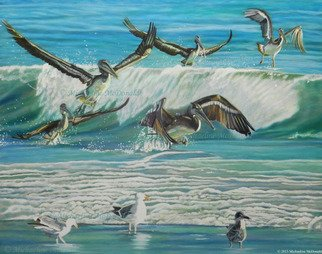 Michaeline Mcdonald; dancing pelicans, 2014, Original Painting Acrylic, 24 x 20 inches. Artwork description: 241 Acrylic painting featuring a flock of pelicans that appear to be dancing among the ocean waves. ...