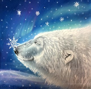 Michaeline Mcdonald; polar bear snowflakes, 2017, Original Pastel, 12 x 12 inches. Artwork description: 241 Original pastel painting of a smiling polar bear with a snowflake on his nose. Behind him is a dark blue sky with aurora borealis lights and snowflakes falling. ...