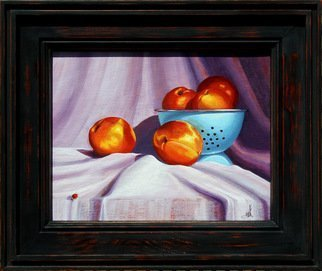 Wm Kelly Bailey; Apricots And A Lady, 2013, Original Painting Acrylic, 8 x 10 inches. Artwork description: 241  Apricots and A Lady, acrylic painting on stretched canvas.  10 x 8 painting, Custom, Handmade Frame O.  D.  is 12 x 14.  Sold.  Private Collection, Richmond, TX...