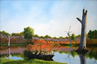 Wm Kelly Bailey; Brazos Bend State Park Texas, 2014, Original Painting Acrylic, 36 x 24 inches. Artwork description: 241 Big Creek, Brazos Bend State Park, Texas, Landscape, Acrylic Painting, WKB, Wm.  Kelly Bailey, Commissioned Painting, @ wkb_ art, Lake, Fall Colors, Life Goes On, Renewal, Resurgence, wildlife, ...