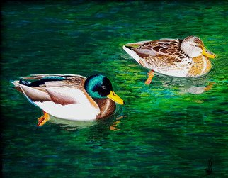 Wm Kelly Bailey; Lake Mohave Mallards, 2016, Original Painting Acrylic, 10 x 8 inches. Artwork description: 241 We saw these Mallard Ducks at Lake Mohave on the Colorado River in Northwest Arizona, they were wintering there.  The male has amazing colors but the female has equally amazing, though more subtle, patterns and designs in her feathers.  At wkb_ art sold this painting to a private ...