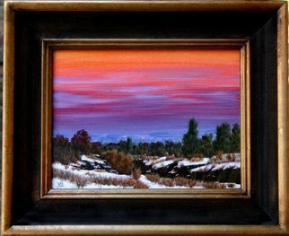 Wm Kelly Bailey; Southwest Winter Evening, 2011, Original Painting Acrylic, 12 x 9 inches. Artwork description: 241 Southwest Winter Evening Acrylic painting on canvas panel.  Size listed is image size frame size is 14. 5x17. 5.  Available.Out in the southwest, sometimes the sunset colors reflected in the clouds on the opposite horizon away from where the sun is setting are just as beautiful ...