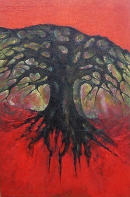 Wojtek Kowalski; Red Tree, 2003, Original Painting Oil, 68 x 98 cm. Artwork description: 241    primitiveness subconscious imaginations fulfillment uncertainty psychedelia watercolor surrealism depicting happiness galleries aborigine pastels rainbow feeling drawing freedom graphic silence thought cosmos artist nature pencil person poland taught heart quiet color woman peace lodz love life self tree man oil art joy ink   ...